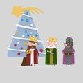 Three Magic Kings looking blue Christmas Tree.3D Royalty Free Stock Photo