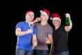 Three man wearing santa hat Royalty Free Stock Photography