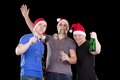 Three man wearing santa hat Stock Photo