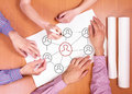 Three managers at the meeting people write concept of teamwork top view Stock Image
