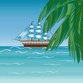 Three masted sailing ship frigate transport.