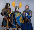 Three medieval knights in full armor standing Stock Photography
