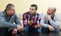 Three men at home Royalty Free Stock Photo