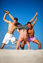 Three men summer vacation Stock Photo