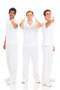Three men thumbs up team of giving isolated on white background Stock Images