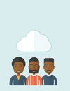 Three men under the cloud a happy successful business people group standing a contemporary style with pastel palette soft blue Stock Photography