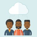 Three men under the cloud a happy successful business people group standing a contemporary style with pastel palette soft blue Royalty Free Stock Photography