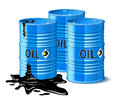 Three metal barrels with oil are on white background Stock Image