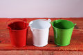Three metal buckets Royalty Free Stock Photo
