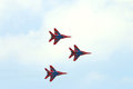 Three Mig 29 fighter aircrafts fly Royalty Free Stock Photo