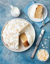 Three milk cake, tres leches cake with coconut. Traditional dessert of Latin America Top view Royalty Free Stock Photo