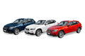 Three modern cars bmw x view of a german on white background Royalty Free Stock Photography