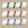 Three modern numbered ribbons-banners Stock Images