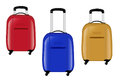 Three modern suitcases on wheels. Red, blue and yellow. Vector