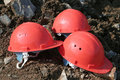 Three mountain defensive helmets Stock Photography