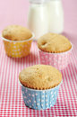 Three muffins colorful muffin cases red checkered background Stock Photos
