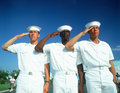 Three Multicultural Sailors Saluting Royalty Free Stock Photo