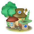 Three mushroom houses group of fairy and tree Stock Photos
