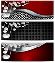 Three musical banners n set of with metal texture and stylized white notes Royalty Free Stock Photo