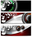 Three musical banners n set of with metal texture woofers and stylized white notes Royalty Free Stock Photography