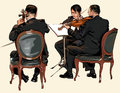 Three musicians of classic orchestra violin and double bass vector illustration Royalty Free Stock Images