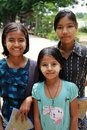 Three Myanmar teen-agers selling souvenirs Stock Images