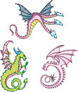Three mythic dragons set of color vector illustrations Stock Images