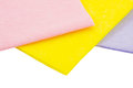 Three napkins on a white background isolated Stock Images