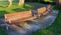 Three New Park Benches Royalty Free Stock Photo