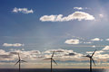 Three offshore wind turbines park in denmark europe Royalty Free Stock Photography
