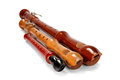 Three old battered wooden recorders Royalty Free Stock Photo