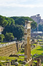 Three old columns in the roman forum in rome ancient found Stock Images