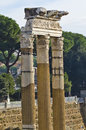 Three old columns in the roman forum in rome ancient found Stock Photography