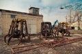 Three old crane grabber. Car dump. Royalty Free Stock Photo