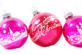 Three old pink Christmas ornaments Royalty Free Stock Photography