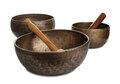 Three old Tibetian singing bowls on white Stock Image