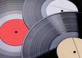 Three old vinyl records shallow dof Stock Images