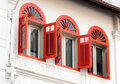 Three Open Ornamental Windows Stock Photography