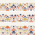 Three ornamental folk tulips horizontal seamless Royalty Free Stock Photo