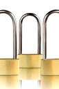 Three padlocks with shackle Royalty Free Stock Photo