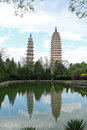 Three pagodas in dali china and water with reflection Stock Photos