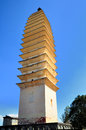 The three pagodas are an ensemble of three independent pagoda towers arranged on the corners of an equilateral triangle near the Stock Photography