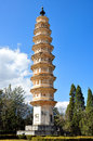 The three pagodas are an ensemble of three independent pagoda towers arranged on the corners of an equilateral triangle near the Stock Photos