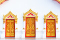 Three painting craved doors with thai painting Stock Photos