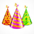 Three party hats on white colorful with decoration illustration Royalty Free Stock Photography