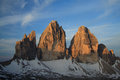 Three peaks from refuge locatelli south tyrol Royalty Free Stock Images