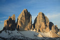 Three peaks from refuge locatelli south tyrol Stock Image