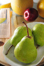 Three pears fruit and closeup Royalty Free Stock Photo