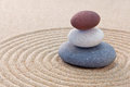 Three pebble stack zen garden Stock Images