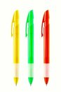 Three pens of different colors Royalty Free Stock Photos